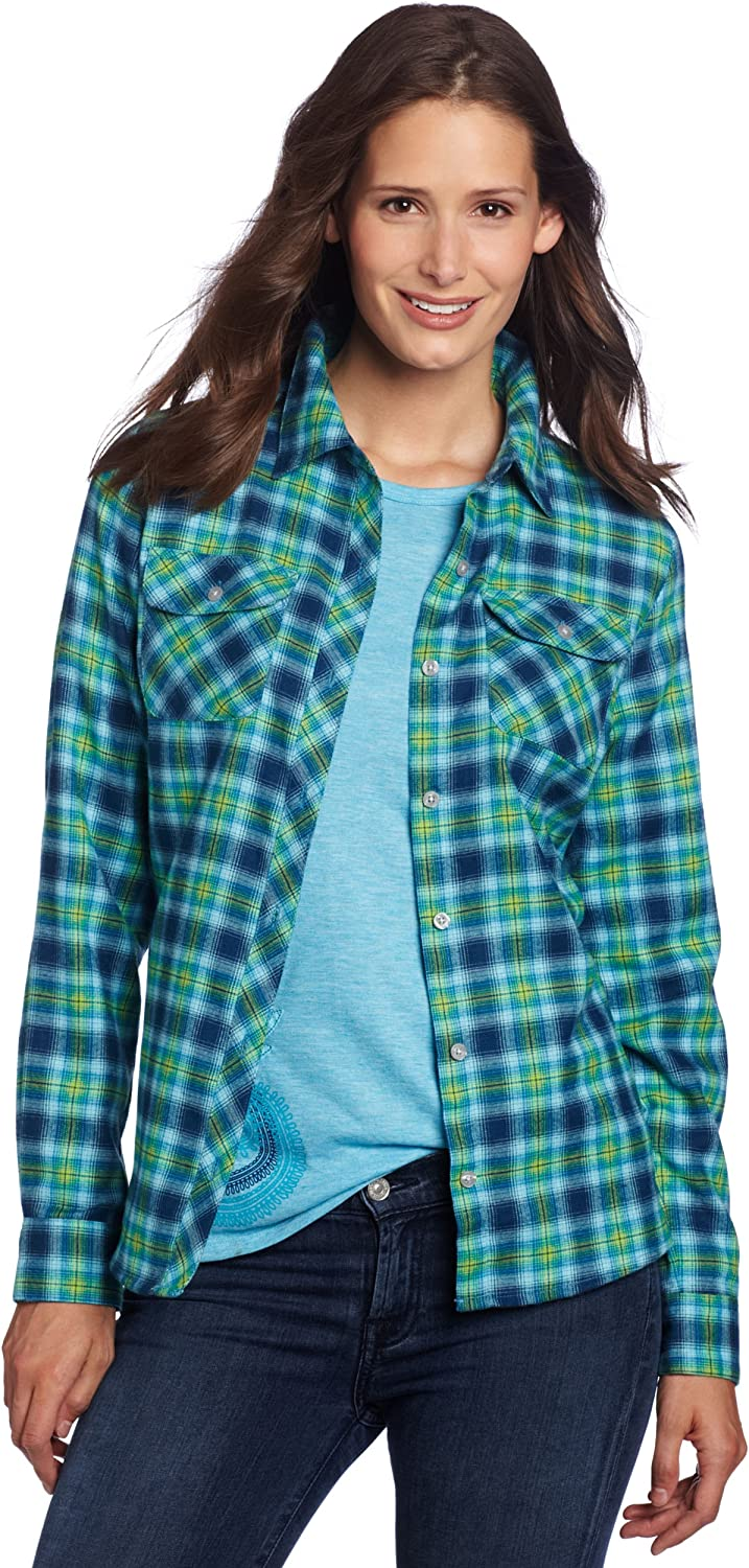 Marmot Women's Southshore Flannel Long Sleeve Tee, Mosaic bluee, Small