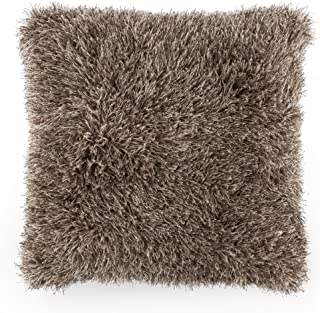 Bedford Home Oversized Floor or Throw Pillow Square Luxury Plush– Shag Faux Fur Glam Decor Cushion for Bedroom Living Room or Dorm (Mocha)