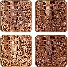 Manhattan, NY Map Coaster by O3 Design Studio, Set Of 4, Sapele Wooden Coaster With City Map, Handmade