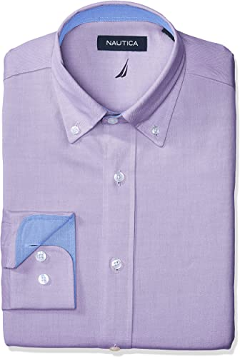 Nautica Hommes's Classic Fit Button Down Collar Oxford Robe Shirt, violet, 15.5 34 35