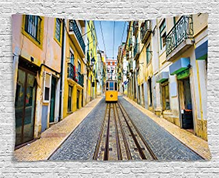 Lunarable City Tapestry, Portuguese Lisbon Street with Tram Pastel Colored Buildings European Coastal Town, Wide Wall Hanging for Bedroom Living Room Dorm, 80