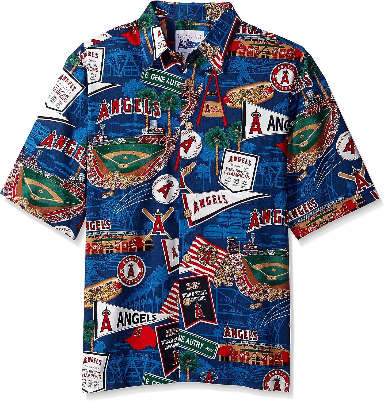 Reyn Spooner Men's MLB Collection 2015 Anaheim Angels Shirt, Scenic, Small