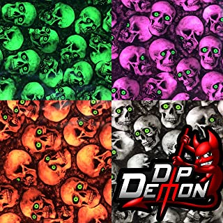 HYDROGRAPHIC FILM HYDRO GREEN EYED MINI SKULLS WATER TRANSFER DIP APE