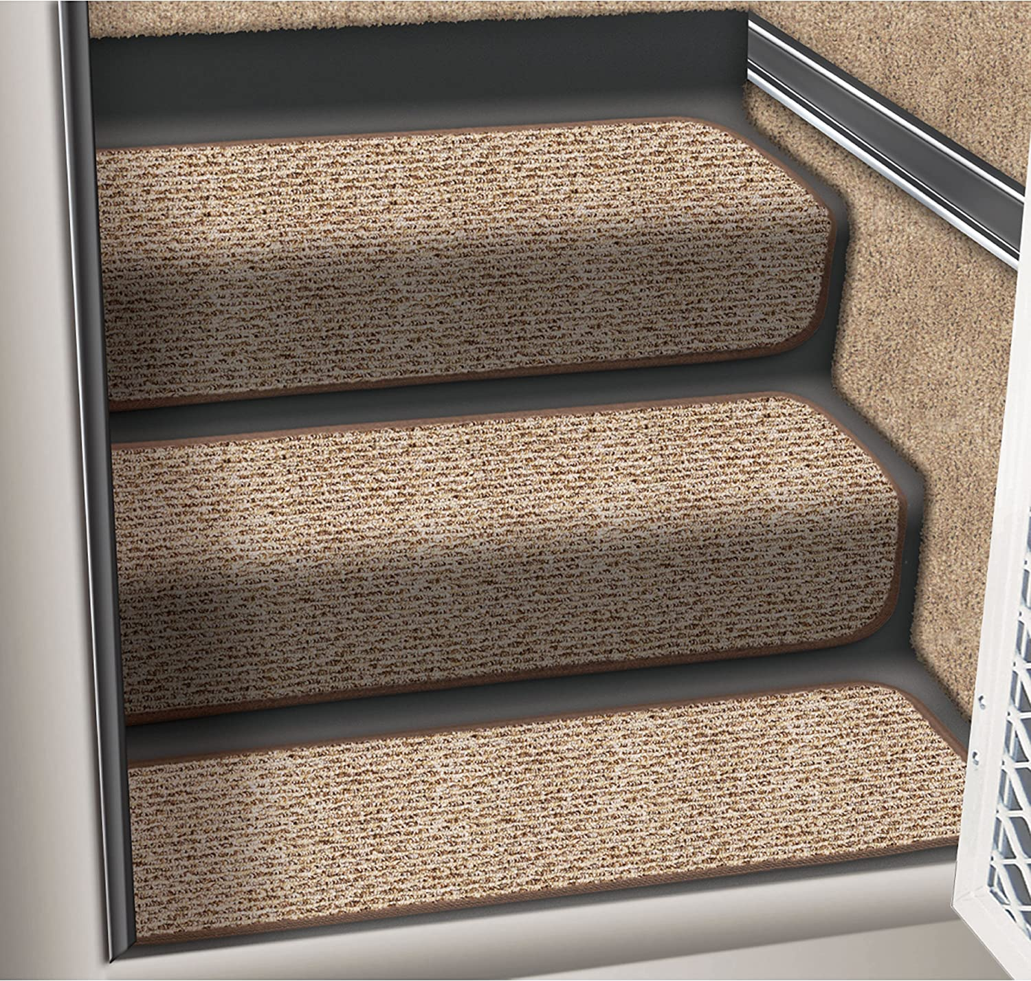 Prest-O-Fit 5-0092 Decorian Step Huggers For RV Landings Butter Pecan Brown 6 In x 23.5 In.