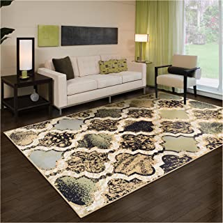 Superior Modern Viking Collection Area Rug, 8mm Pile Height with Jute Backing, Chic Textured Geometric Trellis Pattern, Anti-Static, Water-Repellent Rugs - Multi-Colored, 5' x 8' Rug