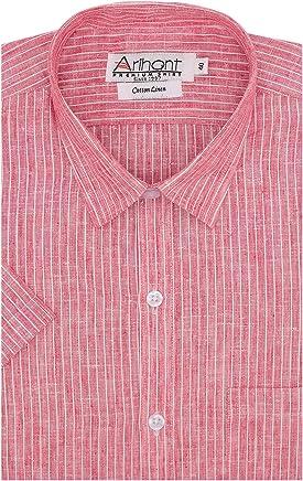 Arihant Men's Striped Cotton Linen Half Sleeves Regular Fit Formal Shirt