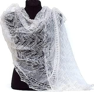 Fedelkea Luxury Orenburg Scarf Wrap Lace Knitted Wool Goat Down Russian Handmade