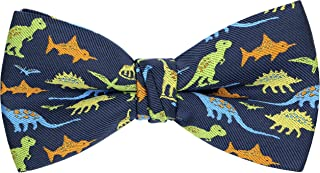 OCIA Dinosaur Shark Music Pattern Pre-Tied Bow Tie Adjustable Bowties for Mens & Boys
