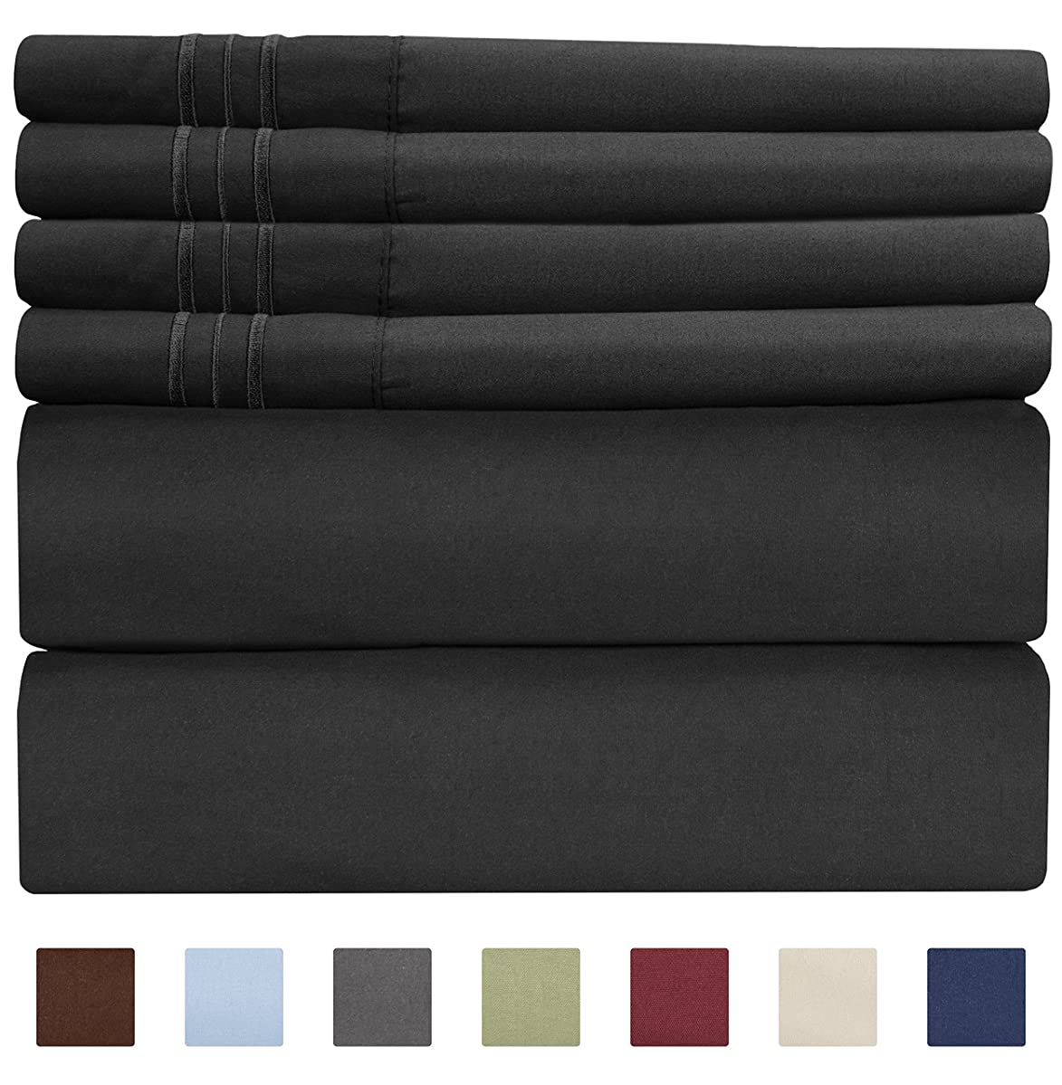 King Size Sheet Set - 6 Piece Set - Hotel Luxury Bed Sheets - Extra Soft - Deep Pockets - Easy Fit - Breathable & Cooling Sheets - Wrinkle Free - Comfy - Black Bed Sheets - Kings Sheets - 6 PC