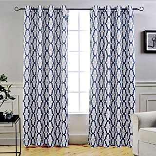 DriftAway Mason Thermal Blackout Grommet Window Curtains Geometric Trellis Pattern 2 Panels Each 52 Inch by 84 Inch Navy