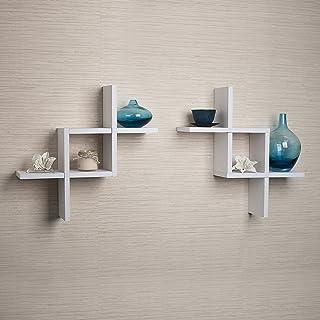 Danya B. FF2513W Reversed Criss Cross Shelves, Wood, White, 2