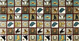 Henry Glass Rodeo Round Up Cowboy Motif Squares 24