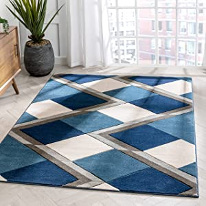 Well Woven Naya Blue Modern Geometric Diamond Boxes Pattern Area Rug