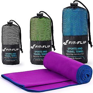 36c0da7c95cd2 Fit-Flip Serviette Microfibre de avec coture de Couleur Pur Yoga, Sport, Gym