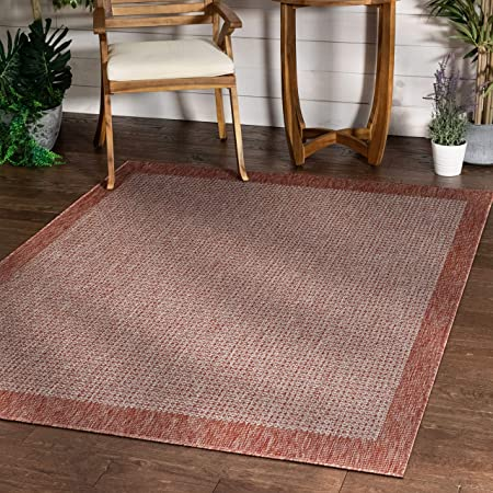 Amazon Com Well Woven Woden Coral Pink Indoor Outdoor Flat Weave Pile Solid Color Border Pattern Area Rug 5x7 5 3 X 7 3 Kitchen Dining