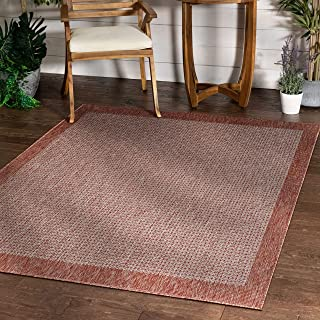 "Well Woven Woden Coral Pink Indoor/Outdoor Flat Weave Pile Solid Color Border Pattern Area Rug 5x7 (5'3"" x 7'3"")"