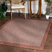 Well Woven Woden Coral Pink Indoor/Outdoor Flat Weave Pile Solid Color Border Pattern Area Rug 5x7 (5'3