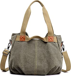 5e342b3e7f Z-joyee Women s Ladies Casual Vintage Hobo Canvas Daily Purse Top Handle Shoulder  Tote Shopper
