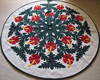 Hawaiian Quilt 100% Hand Quilted and 100% Hand Appliqued Christmas Tree Skirt 60