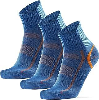 DANISH ENDURANCE Cycling Socks Regular Ankle Crew 3 Pack, for Men & Women, Padded Bike Socks, in Striped, Black & Blue