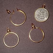 25 Cent / USA Quarter Coin Holder Bezel Goldtone ~ for Charm, Necklace, Pendant, Display (Pack of 4)