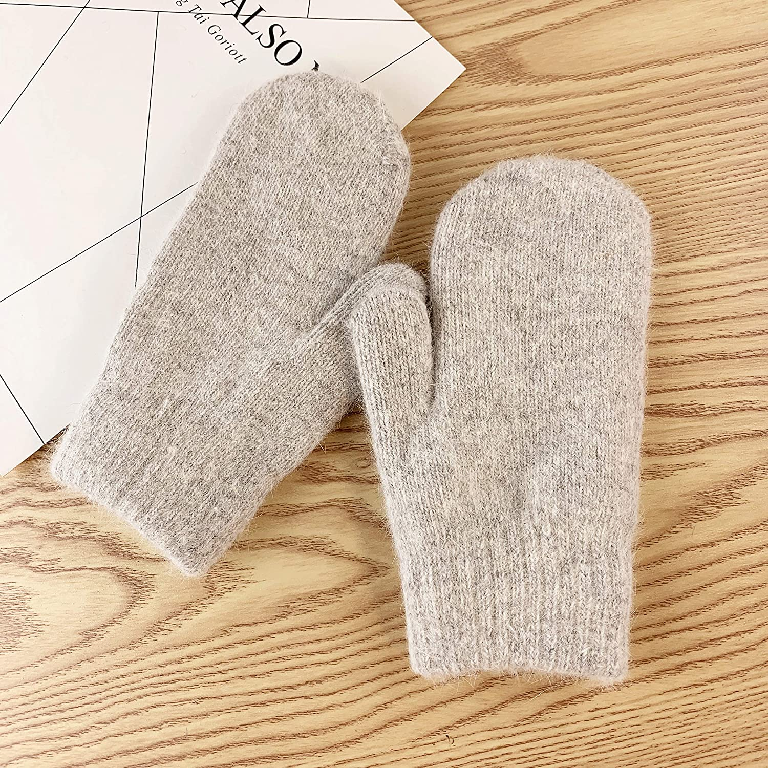 Double-Layer Rabbit Hair Gloves Female Winter Korean Version of Solid Color All Fingers Women Girls Mittens