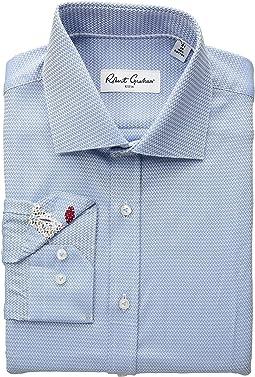 Curto Solid Chevron Long Sleeve Dress Shirt