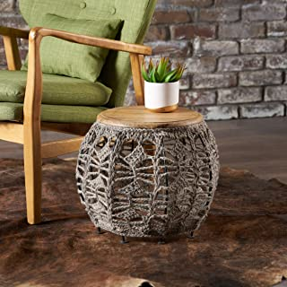 Christopher Knight Home Viceroy Grey Fabric End Table with a Mango Wood Top, Gray