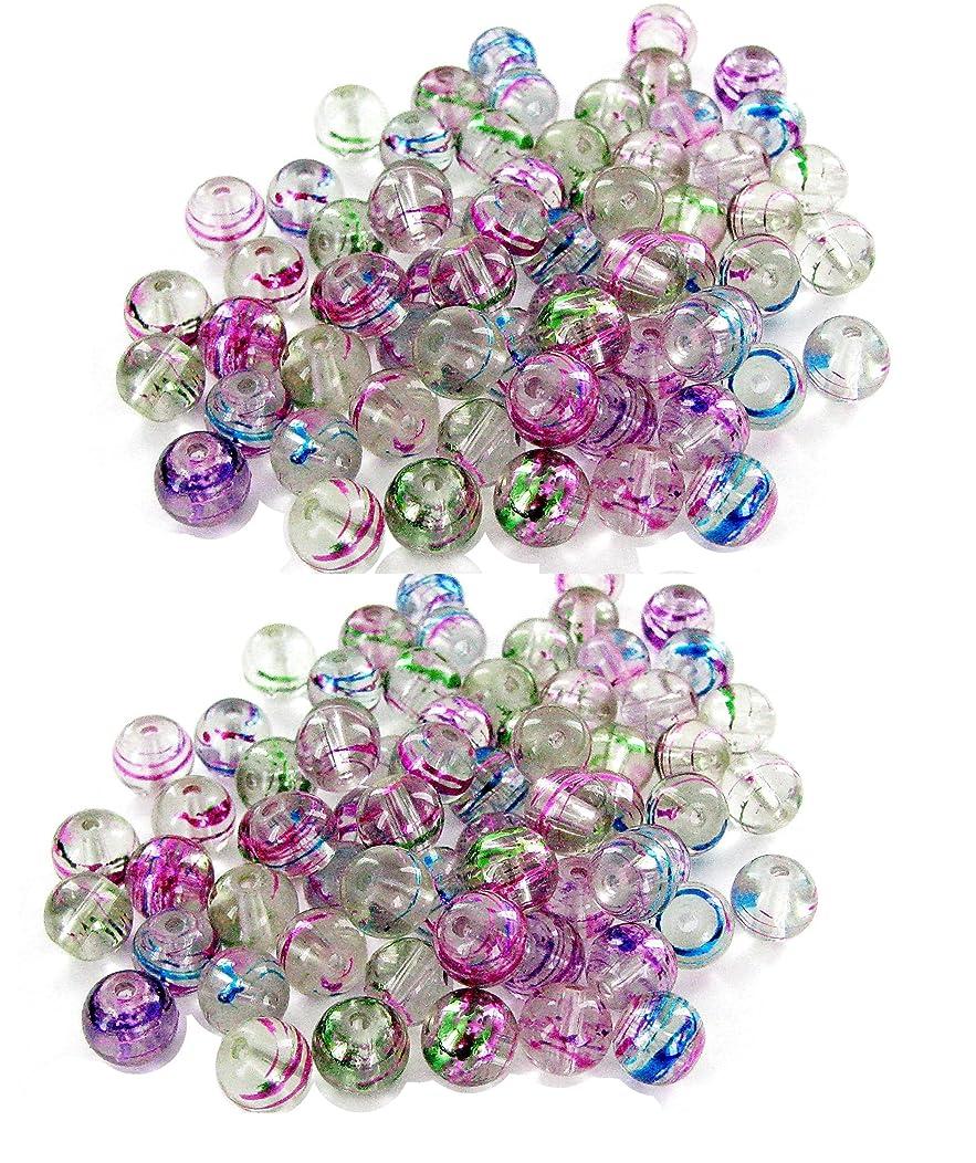 Linpeng Fuchsia Green Blue Lines 8mm Round Swirl Glass 130 Beads Total