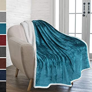 PAVILIA Premium Sherpa Fleece Throw Blanket | Soft, Plush, Fuzzy Turquoise Throw | Reversible Warm Cozy Microfiber Solid Blanket for Couch Sofa (Sea Blue, 50x60 Inches)