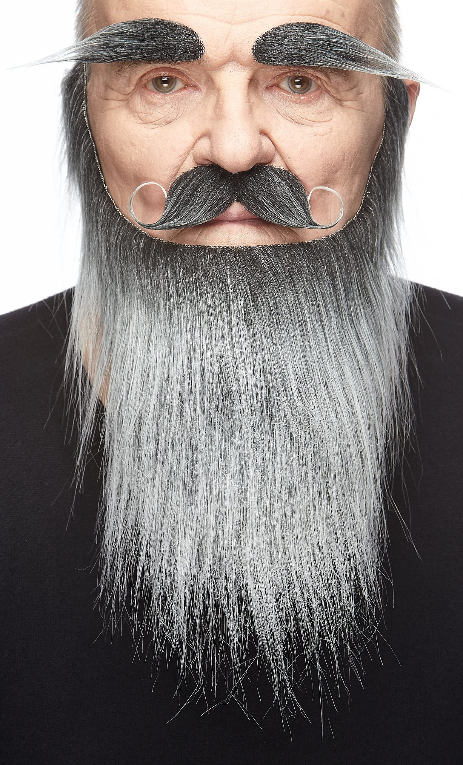 Extra Long Fake Grey Salt /& Pepper Beard w// Mustache One Size Fits All