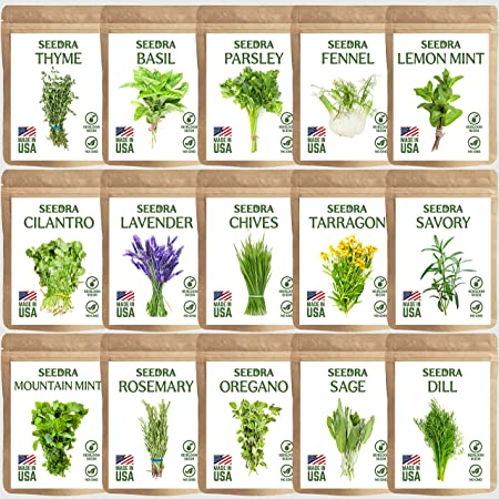 SEEDRA 15 Herb Seeds Variety Pack for Indoor and Outdoor Planting - 4500+ Seeds - Non GMO and Heirloom