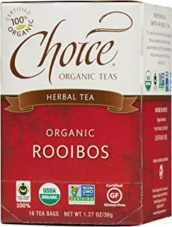 Choice Organic Teas Caffeine Free Herbal Tea, Rooibos, 16 Count