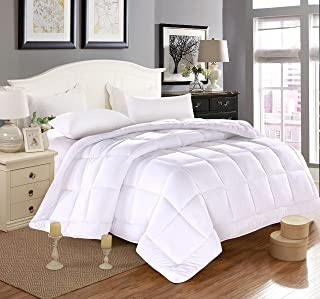 Everest Supply Duvet Insert Luxury Down Alternative Quilted Reversible Comforter/Bedspread Fluffy w/Plush Polyester Fill Box Stitch All Year use-White Oversize King 98 by 116 inches