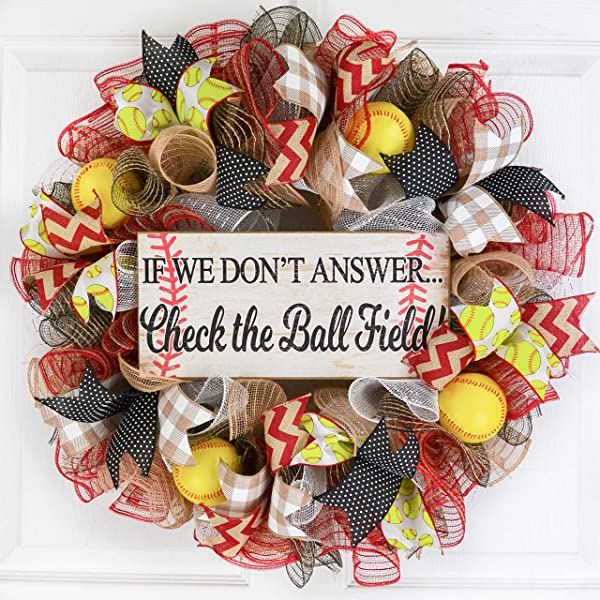 垒球球场网花环,如果我们不回答棒球黑色黄色白色红色
