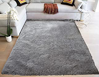 T Shag Shaggy Modern Hand-Woven Hand Tufted Solid Yarns Thick Pile Fluffy Fuzzy Furry Plush Pile 8-Feet-by-10-Feet Polyester Made Area Rug Carpet Rug Silver Color