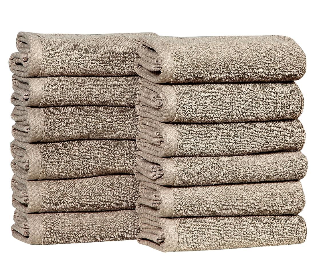 包囲名誉がっかりしたHomeway Decor 12パックWash Cloths 13?x 13?–?100?% Pure Ringspun 2層綿?–?面タオル浴室、洗濯機洗い可能、プラッシュ、クイックドライ ベージュ
