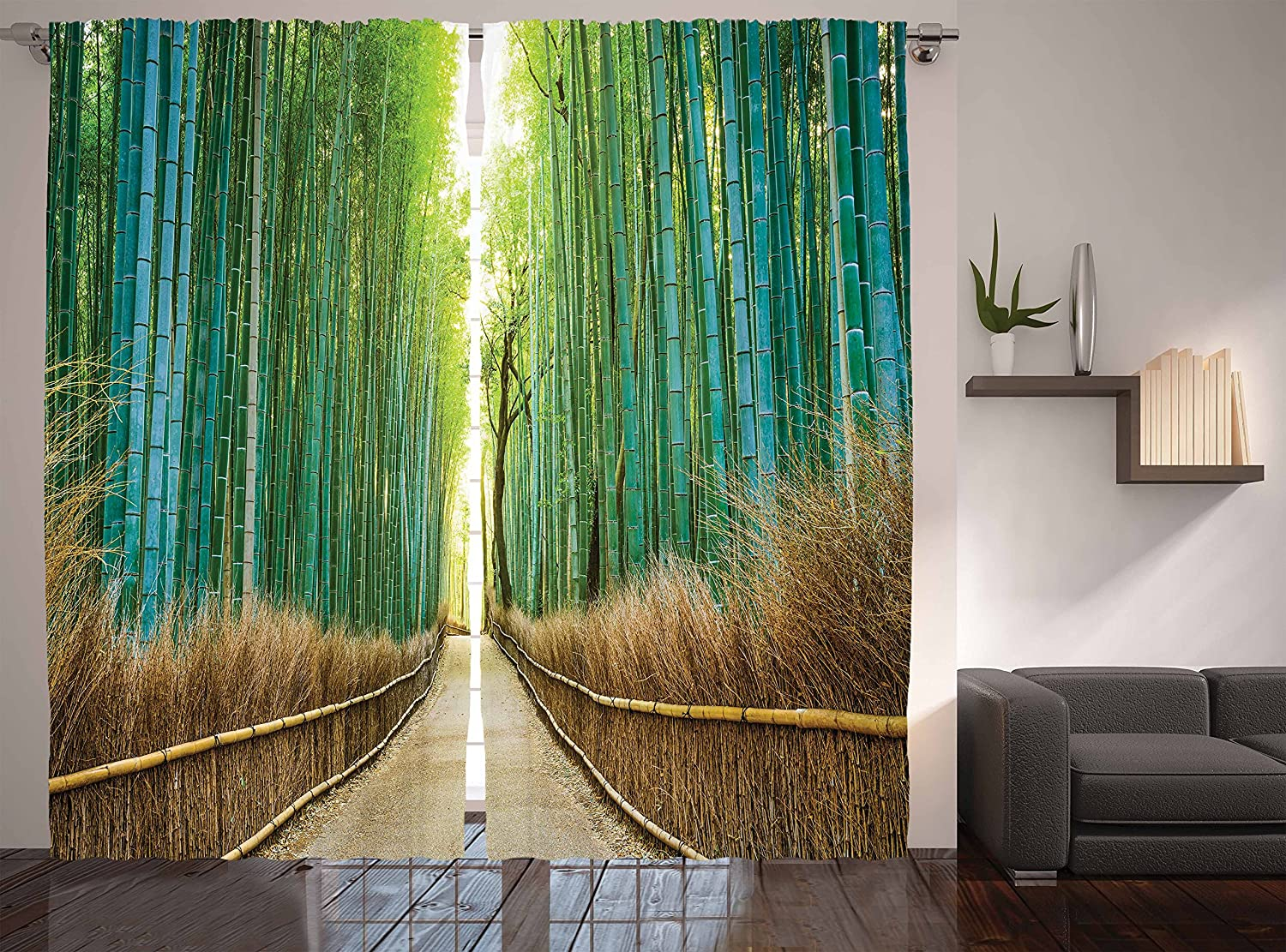 Ambesonne Bamboo Forest in Japan Collection, Panoramic View of Historic Landscape Park Photo Print, Window Treatments, Living Kids Girls Room Curtain 2 Panels Set, 108 X 84 Inches, Light Green Peru