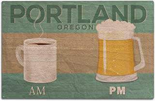 Lantern Press Portland, Oregon - Coffee in The AM, Beer in The PM (10x15 Wood Wall Sign, Wall Decor Ready to Hang)