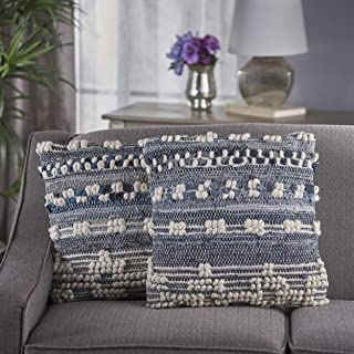 Christopher Knight Home 301633 Clara Blue White Wool and Denim Pillows (Set of 2)