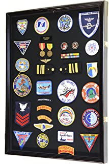 XL Military Medals/Pin/Patches/Badges/Ribbons/Insignia/Flag Display Case Cabinet Shadowbox (Black Wood Finish)