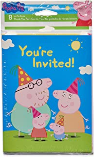 American Greetings Peppa Pig Party Supplies, Invitation and Thank You Card Bundle (8-Count)
