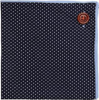 Pocket Square 100% Cotton, Navy Polka Dot Blue Border, Button Collection