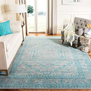 SAFAVIEH Adirondack Collection ADR108L Oriental Medallion Non-Shedding Living Room Bedroom Dining Home Office Area Rug, 6' x 9', Light Grey / Teal