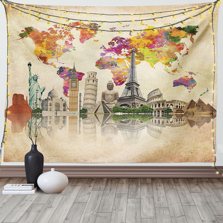 Ambesonne Travel Tapestry Landmarks Denver Mall of Euro The New arrival 7 World Wonders