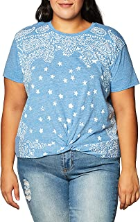 Lucky Brand Women's Short Sleeve Crew Neck Bandana Knot Front Tee T-Shirt
