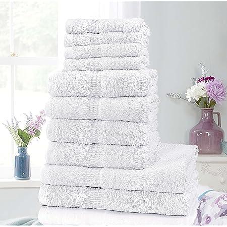 100/% Egyptian Cotton Luxury 10pc Pieces Towel Bale Set Bathroom Face Hand Towels