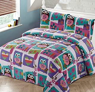 Better Home Style Pink Purple Brown and Turquoise Blue Kids/Teenage/Girls Coverlet Bedspread Quilt Set with Pillowcases Night Owls Hearts and Flower Designs # 2019169 (Queen/Full)