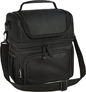 Fit & Fresh doble compartimento bolsa de almuerzo para adultos, aislamiento de doble Decker caja de almuerzo para hombres, mujeres y niños, color negro