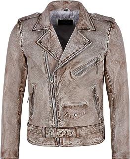 BRANDO Men's Leather Jacket Brown Crust Bikers Fashion Perfecto Leather Jacket SR-MBF